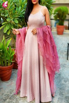 Baby Pink Pure Crepe Shimmer Padded Gown with Dark Pink Pure Organza Ruffle Stole Indian Wedding Outfits, Indian Outfits, Ethnic Outfits, Western Outfits, Party Wear Lehenga, Party Wear Dresses, Indian Designer Outfits, Designer Dresses, Cute Formal Dresses