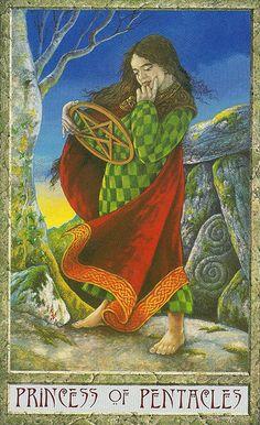 The Druidcraft Tarot- Princess of Pentacles (Page)