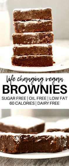These AMAZING Vegan Fudge Brownies might actually change your life! They are so amazingly delicious but also totally healthy and guilt-free! Gluten-free dairy-free oil-free low-fat sugar-free and low-calorie - only 59 calories each! Low Calorie Vegan, Low Calorie Desserts, No Calorie Foods, Low Calorie Recipes, Low Calorie Brownies, Low Calorie Snacks Sweet, Low Fat Brownies, Low Calorie Baking, Low Calorie Cake
