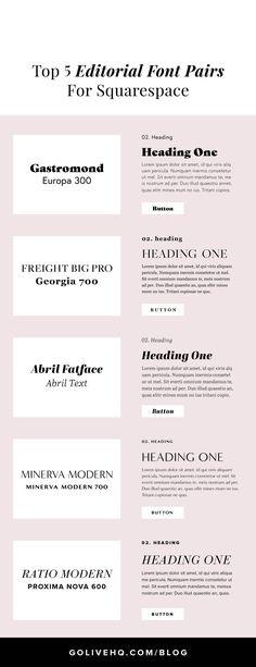 Top 5 Editorial Font Pairings For Squarespace — Go Live: Showit & Squarespace Website Templates Web Design, Font Design, Graphic Design, Type Design, Vector Design, Typography Fonts, Typography Design, Cursive Fonts, Hand Lettering