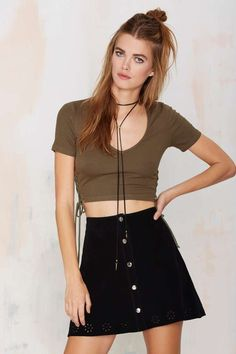 Nasty Gal Take Sides Ribbed Crop Top - Olive | Shop Clothes at Nasty Gal!