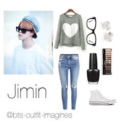"""""""Amusement park with Jimin"""" by bts-outfit-imagines ❤ liked on Polyvore featuring H&M, Converse, Mikimoto and OPI"""