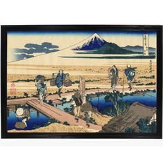 Brushstone 'Nakahara in Sagami Province' by Katsushika Hokusai, Gallery Wrapped Floater-framed Canvas, is a high-quality canvas print depicting workers in a village hard at work, in the artist's signature style. A perfect addition for any home or office. Canvas Artwork, Canvas Frame, Canvas Art Prints, Canvas Size, Painting Frames, Painting Prints, Hokusai Paintings, Katsushika Hokusai, Or Antique