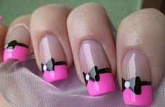 Pink and black nails.  Love the little bows. Would make cute monster high draculaura inspired nails for my lil girl.