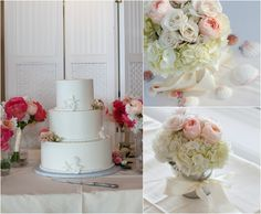 A classic white cake with subtle detailing of ropes and shells added a sweet touch t the celebrations