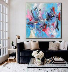 Modern Wall Art, Large Wall Art, Contemporary Art, Oil Painting On Canvas, Canvas Art, Action Painting, Yellow Art, Colorful Paintings, Cool Art