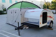 Side Mount Screen Room Tent Designed to attach specifically to the Little Guy or Silver Shadow teardrop trailer in seconds, the screen room provides an additional 100 square feet of stand up space. Easy to set up and compact for storage. Sewn in floor with form fitted cloth wheel cover and rain fly. Everything you need for installation comes with the screen room. http://www.golittleguy.com/teardrops/store/product/side-mount-screenroom-tent