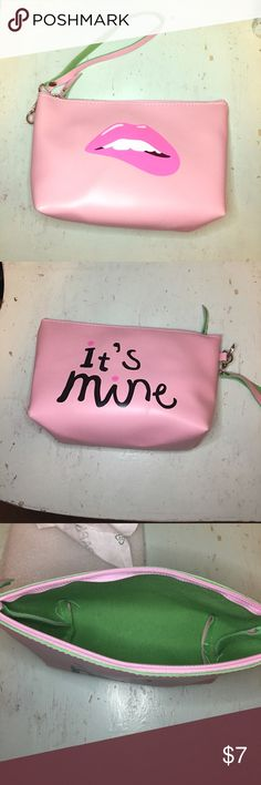 """Cosmetic Bag New Cute It""""s Mine"""" Lip Cosmetic Pouch. Light pink Pleather Exterior with lime green felt interior. Zip closure and removable wristlet. Approx 7x5.5. Bags Cosmetic Bags & Cases"""