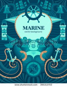 Vector marine background with anchor, wheel, diver, lighthouse, ship, compass. Decorative vector background for cards, invitations, banners, web pages. Illustration in a nautical style. Sea texture.