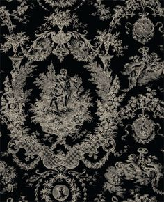 black toile french antique fabric