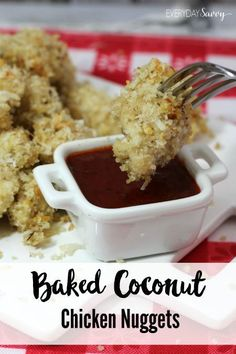 Baked coconut chicken nuggets are a quick healthy recipe that your whole family will love. It is so easy that the kids can help you make them too.  This recipe is great for an easy dinner or lunch or you can use as an appetizer at your next party.  Works