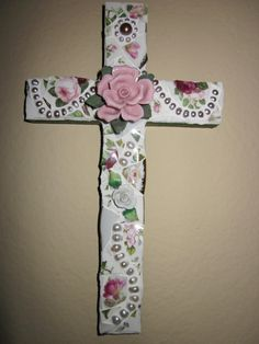 Floral Mosaic Cross . Genuine Fresh Water Pearl Beads . Broken China Pieces . Roses . Decor Plaque . Broken Ceramic . Shabby Chic . Handmade. $25.00, via Etsy.