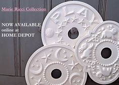 Nursery Ceiling Medallions in primed only are now available online at Home Depot!!! Ships within 5 days!