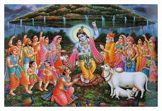 Krishna Lifts the Govardhan Hill. Once in the beautiful land of Vraja, For Lord Indra they wanted to do a puja Begging to Indra to supply them rain So that in time they can harvest their grain Seeing this Krishna was not happy, Krishna Sudama, Krishna Flute, Krishna Leela, Krishna Statue, Hanuman, Yashoda Krishna, Lord Krishna Images, Krishna Photos, Krishna Pictures