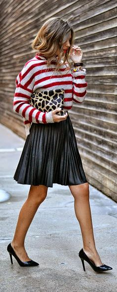Daily New Fashion : Black leather pleated skirt, burgundy stripes sleeve sweater, leopard clutch and black nude high heels.