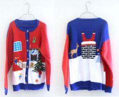 Ugly Christmas Sweater Cardigan Women Large Men Medium Red Blue