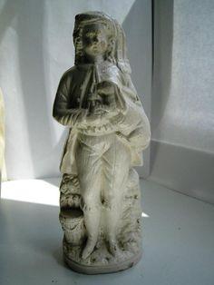 Staffordshire saltglazed pottery figure Medieval lad with large rabbit mid 19thC