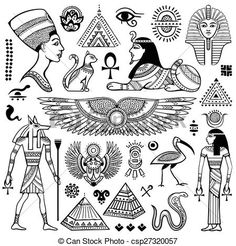 Illustration about Set of Vector Egypt symbols and objects. Illustration of ancient, icon, hieroglyphs - 53679403 Tattoo Sketches, Tattoo Drawings, Body Art Tattoos, Small Tattoos, Kritzelei Tattoo, Horus Tattoo, Anubis Tattoo, Bastet Tattoo, Sanskrit Tattoo