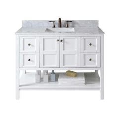 Virtu USA Winterfell 48 in. W x 22 in. D Single Vanity in White with Marble Vanity Top in Carrara White with White Basin ES-30048-WMSQ-WH-NM at The Home Depot - Mobile