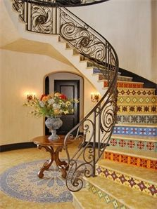 Festive mosaics adorn the steps of this magnificent #stairway. Simply the finest offering of its kind in a country club community in South Florida. 7 en-suite bedrooms plus convertible bedroom/office, exercise/yoga room, home Theater, and children's play/study. Several outdoor marble and paver loggias, patios and verandas. Cul-de-sac home site has multiple golf course vistas.  http://www.npsir.com/eng/sales/detail/224-l-729-4266342/17828-scarsdale-way-boca-raton-fl-boca-raton-fl-33496 #NPSIR