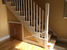 Traditional red deal cut string stairs