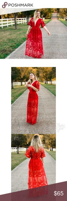 🆕 Maddie Lace Embroidered Dress ❤️ Get swept off your feet in this boho-gypsy maxi dress . In stunning sheer Red Lace Maxi Dress has a plunging neckline and short sleeves that includes a lined bust, shorts underneath, long side slits and floral embroidery throughout.For those that are looking for a less daring front pair with a lace bralette.  • Price Firm* • Actual Model • Model is wearing a small • Model's measurements:  • Height: 5'8'' Bust: 34'' Waist: 26'' Hips: 34'' • 100% polyester…