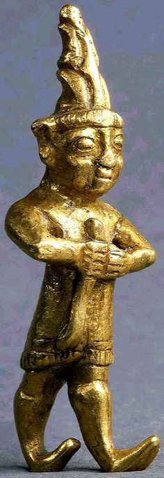 ca.14th-13th BCE. Gold Amulet characteristic of imperial Hittite art. His garb; the tall conical headdress, the fringed tunic and especially the upturned boots can be seen in similar forms in Central Asia many centuries later. From Yozgat, Turkey. Louvre.