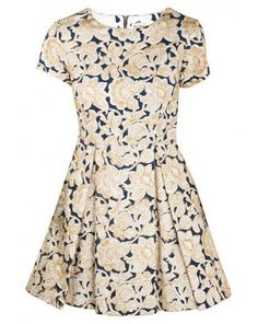 Outfit Ideas: What to Wear to Work in the Summer - Suno Blue and Gold Embroidery Dress, $238; at Les Nouvelles