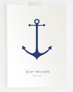 Minimalist Anchor Nautical Nursery Baby Name Birthdate Keepsake Print