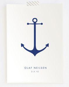 Minimalist Anchor Nautical Nursery Baby Name Birthdate Keepsake Print