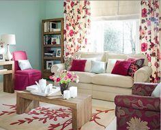 floral living room pink aqua white