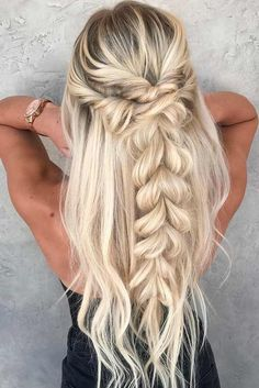 for the promo promo 2018 for long hair - Frisuren 2019 - Cheveux Femme Cute Braided Hairstyles, Easy Hairstyles For School, Girl Hairstyles, Popular Hairstyles, Amazing Hairstyles, Prom Hair With Braid, Braids And Curls, Braids Long Hair, Braid Hairstyles For Long Hair