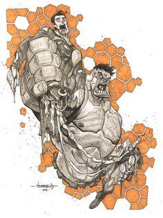 Jon Sommariva - Masters of Anatomy - Hulk & Superman Comic Book Artists, Comic Book Characters, Comic Artist, Comic Books Art, Hulk Vs Superman, Hulk Marvel, Avengers Cartoon, Hulk Art, Western Comics