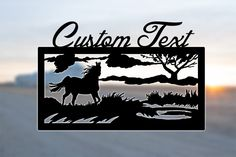 Custom farm or ranch sign. Horse by Pond design with custom text on top, with options for text on bottom as well. Laser cut from steel and finished with black powder coat.
