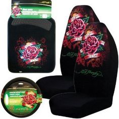 Ed Hardy Dedicated to the One I Love 5-pc Set Seat Covers, Floor Mats, Steering Wheel Cover 2 bucket seat covers. 2 front floor mats. 1 steering wheel cover. All brand new items.  #Ed_Hardy #Automotive_Parts_and_Accessories
