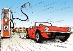 Car Illustration, Illustrations, Triumph Spitfire, Cabriolet, Car Drawings, Comic, Scene, Cartoon, Autos