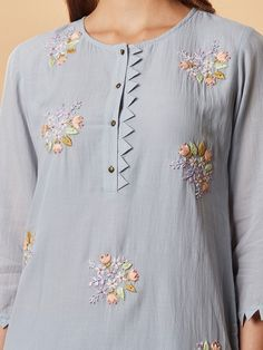 Powder Blue Embroidered Cotton Silk Kurta with Pants- Set of 2 Kurti Sleeves Design, Sleeves Designs For Dresses, Neck Designs For Suits, Kurta Neck Design, Neckline Designs, Dress Neck Designs, Blouse Designs, Salwar Kameez Neck Designs, Silk Kurti Designs