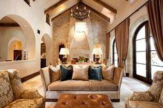 Decoración rústica con vigas de madera y piedra. | Mil Ideas de Decoración