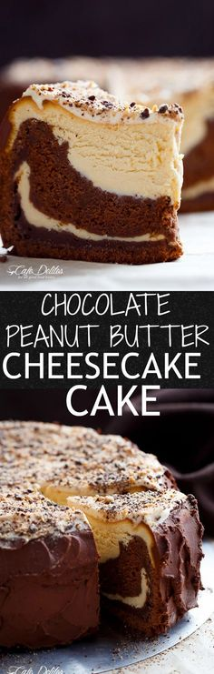 Chocolate Peanut Butter Cheesecake Cake made in the ONE pan! Creamy peanut butter cheesecake bakes on top of a fudgy chocolate cake for the ultimate dessert!   http://cafedelites.com