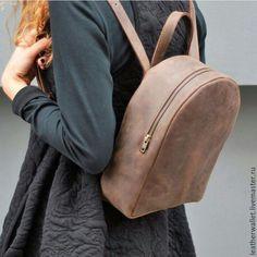 """Купить Кожаный мини-рюкзак """"Индивидуальность"""" - коричневый, кожаный рюкзак, рюкзак ручной работы"""
