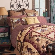 VINTAGE-COWBOY-RODEO-BRONCO-HORSE-WESTERN-QUEEN-QUILT-SHAMS-SET-100-COTTON