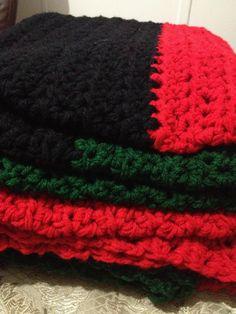 Red Black and Green Crochet Blanket for Full by LeimajCreations