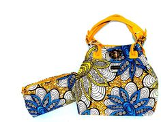 African Print Bag, African Bag, Blue Tote Bag, African Bag With Leather Straps, Ankara Print Fabric Tote Gift For Her By Zabba Designs