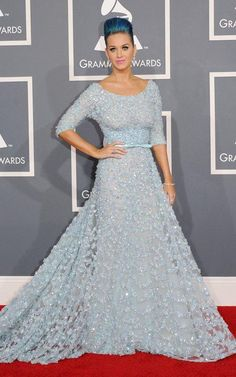 f3affd050b54 Katy Perry wearing Ellie Saab Elie Saab sequined blue dress elegant at the  Grammy Awards red carpet