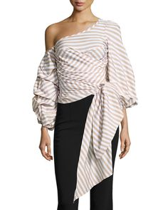 040ff55e1dee7c Leticia Pinstripe Off-Shoulder Wrap Blouse