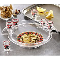 @Overstock - Enliven your parties with shot glass roulette. This entertaining set comes with a game board and six shot glasses, so several people can play at once. Your friends will never want to leave once you get started playing this fun drinking game.http://www.overstock.com/Home-Garden/Game-Night-Shot-Glass-Roulette/5202800/product.html?CID=214117 $19.99