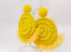 Yellow Earrings Beaded Statement Fringe Large Tassel Fan