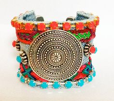 boho chic denim/ friendship bracelet cuff This cuff is truly OOAK - the cuff base is made from the the waistband of a vintage pair of jeans...    * The