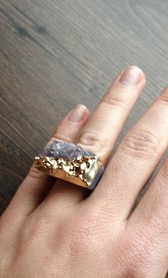Gold dipped druzy ring