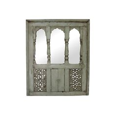 de-cor Pre-Owned Aged Green Haveli Window Mirror ($885) ❤ liked on Polyvore featuring home, home decor, mirrors, aged green, green home decor, window mirror, green mirror, distressed window mirror and flower stem